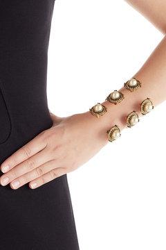 Alexander McQueenAlexander McQueen Embellished Cuff Bracelet