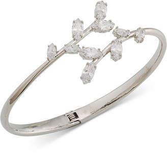 Carolee Silver-Tone Crystal Hinged Bangle Bracelet