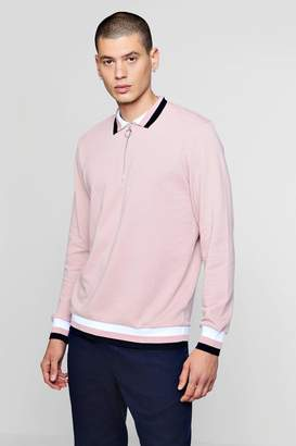 boohoo Zip Placket Rugby Sweater