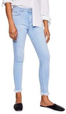 MANGO Cropped Fray-Hem Skinny Jeans