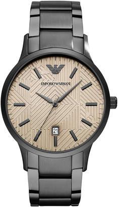 Emporio Armani Men Gunmetal Stainless Steel Bracelet Watch 43mm