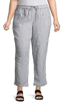 Lord & Taylor Plus Striped Linen Pants
