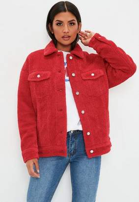 Missguided Red Oversized Borg Trucker Jacket