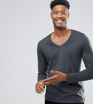 Asos Tall Long Sleeve T-Shirt With Deep V Neck In Dark Grey