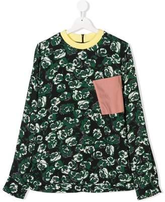 Marni TEEN asymmetric printed blouse