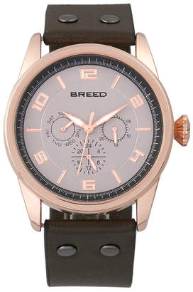 Breed Quartz Rio Rose Gold And Brown Genuine Leather Watches 43mm