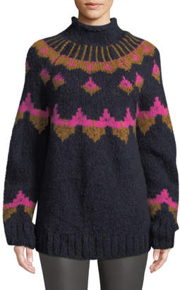 A.L.C. Shapiro Mock-Neck Intarsia Wool-Blend Sweater