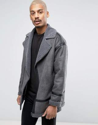 ASOS Faux Shearling Biker Jacket In Gray $121 thestylecure.com