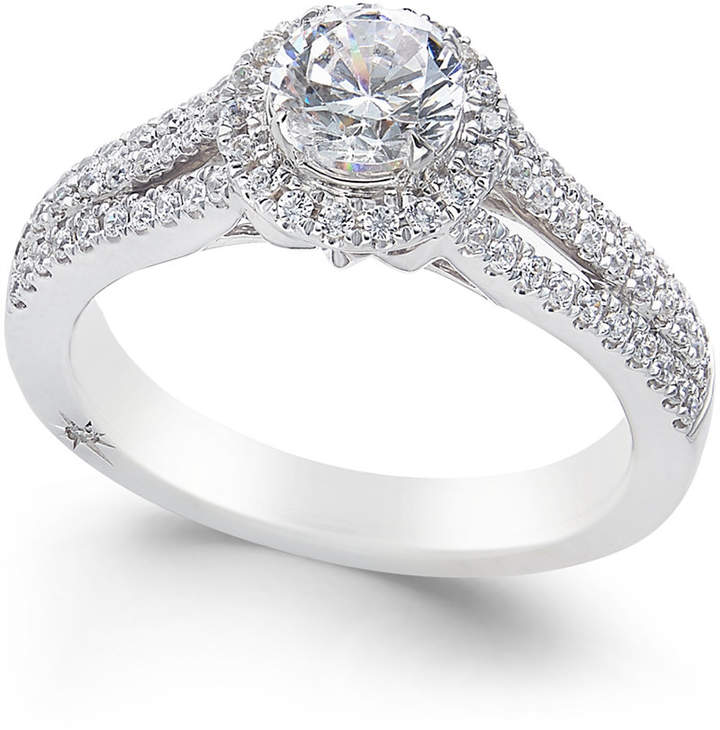 Marchesa Certified Diamond Halo Ring (1 ct. t.w.) in 18k White Gold, Created for Macy's