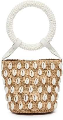 Aranaz 'Kaia' seashell mini straw bucket bag