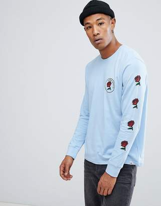 Element long sleeve t-shirt with forces of nature back print in blue