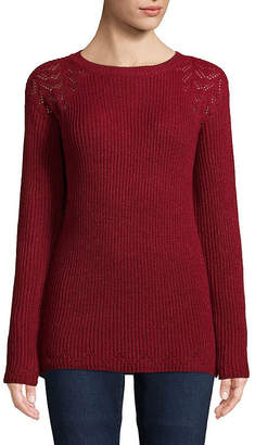 ST. JOHN'S BAY Womens Round Neck Long Sleeve Pullover Sweater