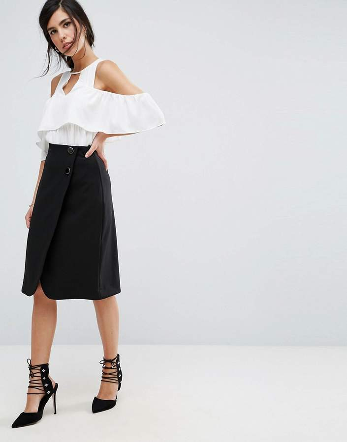 Closet London Wrap Front Midi Skirt