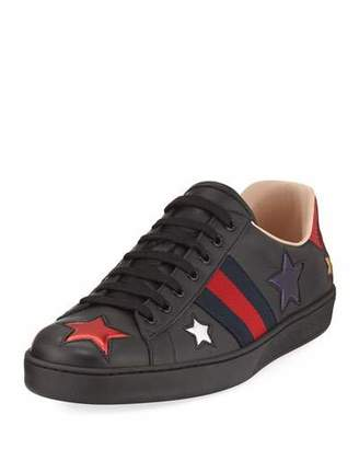 Gucci New Ace Star Low-Top Sneaker, Black $640 thestylecure.com
