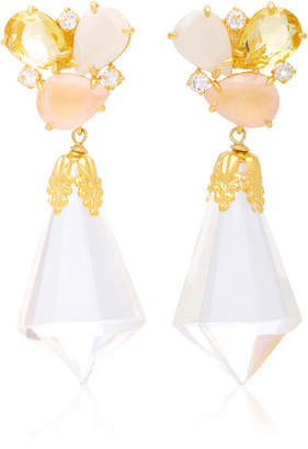 Bounkit Moonstone and Quartz 14K Gold-Plated Brass Drop Earrings