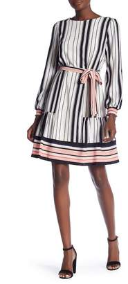 ECI Stripe Print Waist Tie Dress