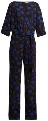 Diane von Furstenberg Gwynne Dragon Berry Print Jumpsuit - Womens - Black Print