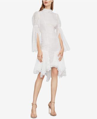 BCBGMAXAZRIA Asymmetrical Lace Sheath Dress