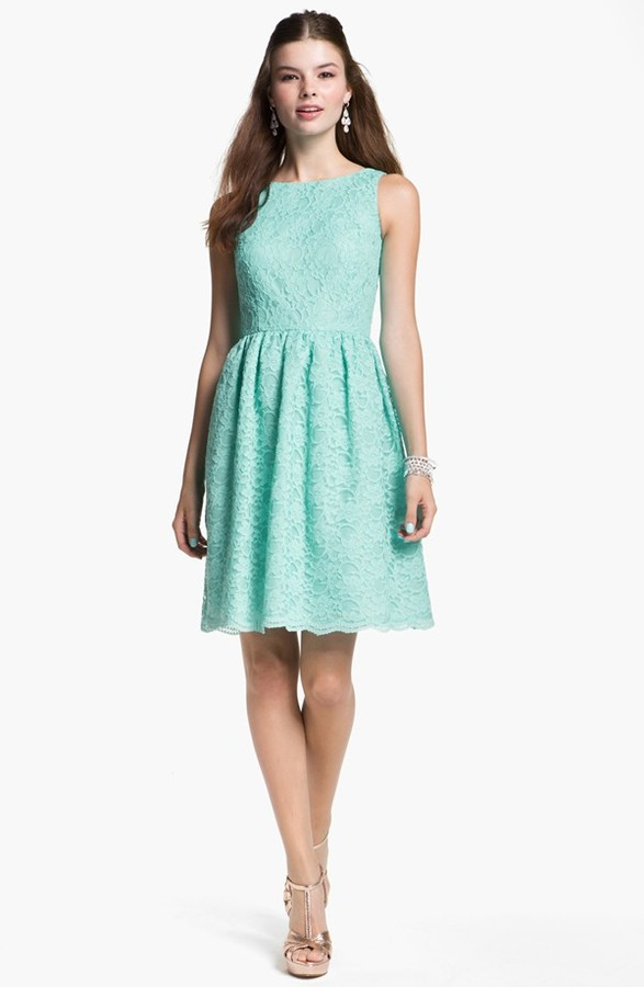 Calvin Klein Sleeveless Lace Fit & Flare Dress