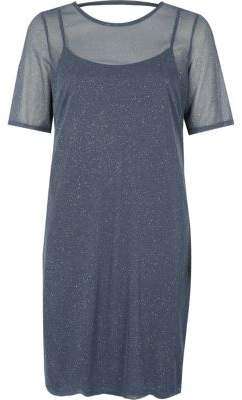 River Island Womens Dark grey glitter mesh T-shirt dress