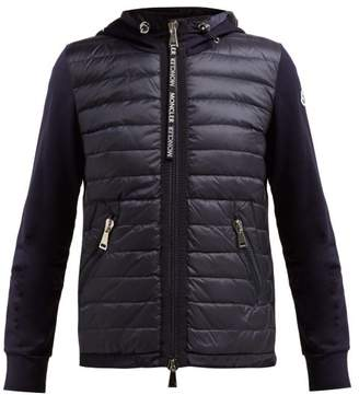 Moncler Quilted Down And Cotton Jersey Jacket - Womens - Navy