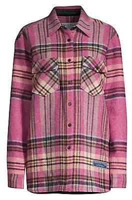 we11done Women's Oversized Plaid Wool Shirt