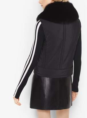 Michael Kors Fur-Collar Techno Nylon Ski Vest