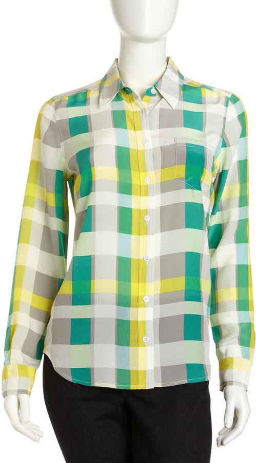 Equipment Bret Plaid Silk Shirt, Green/Multicolor
