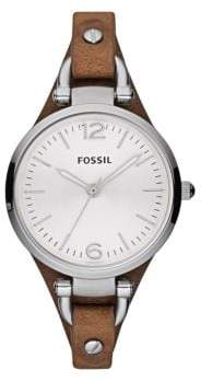 Fossil Ladies Georgia Stainless Steel and Leather Watch