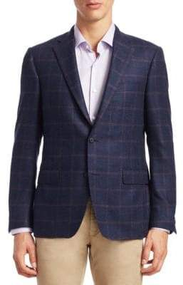Saks Fifth Avenue COLLECTION BY SAMUELSOHN Windowpane Plaid Wool Sportcoat