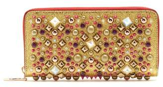 Christian Louboutin - Panettone Embellished Zip Around Leather Wallet - Womens - Gold Multi