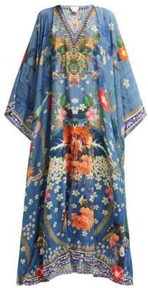 Camilla Faraway Florals Silk Kaftan - Womens - Blue White