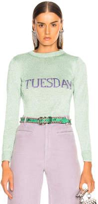 Alberta Ferretti Tuesday Lurex Crewneck Sweater in Seafoam & Lilac | FWRD
