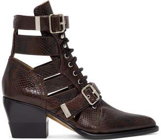 Chloé Burgundy Snake Rylee Strap Boots