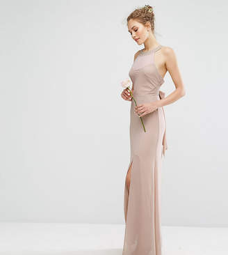 TFNC WEDDING Chiffon Maxi Dress with Tonal Embellishment and Tie Detail