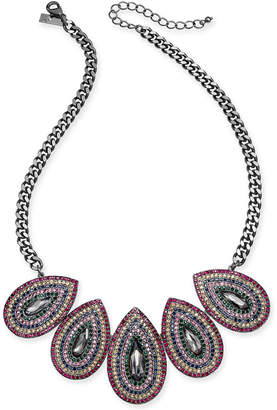 """INC International Concepts I.n.c. Hematite-Tone Multicolor Crystal Oval Statement Necklace, 20"""" + 3"""" extender"""