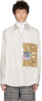 Raf Simons White and Beige Plastic Pocket Shirt
