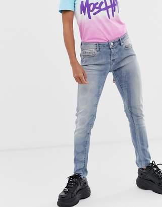 Love Moschino spot and stripe boyfriend jeans