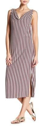 Bobeau Striped Cowl Neck Midi Dress