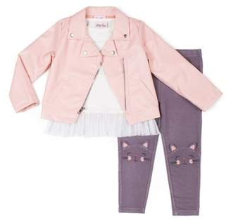 Little Lass Faux Leather Moto Jacket, Long Sleeve Top & Knit Denim Jeans, 3pc Outfit Set (Baby Girls & Toddler Girls)