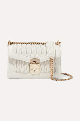 Miu Miu Confidential Matelassé Leather Shoulder Bag - White
