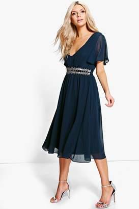boohoo Boutique Embellished Waist Midi Dress