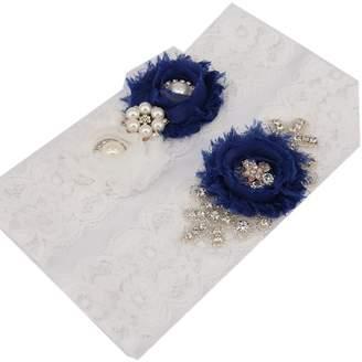 "TRLYC 2""Wide*20""Length Bridal Garter Set Navy Blue Wedding Garter Set"