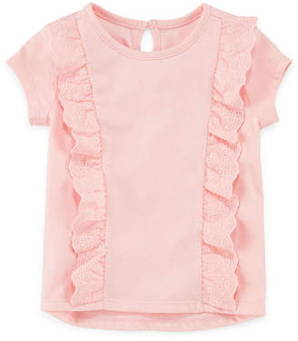 Okie Dokie Solid Ruffle Front Short Sleeve Tee - Baby Girl NB-24M