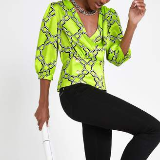 18545cb2f7 River Island Womens Green chain print double breasted blouse