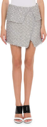 Balmain Shimmer Tweed Wrap Skirt