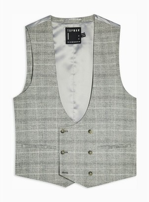 Topman Mens Grey Gray Check Slim Fit Suit Vest