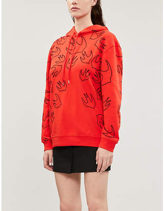 McQ Flocked swallow-print cotton-jersey hoody