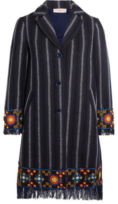 Tory Burch - Luna Embellished Cotton-blend Tweed Coat - Midnight blue $695 thestylecure.com