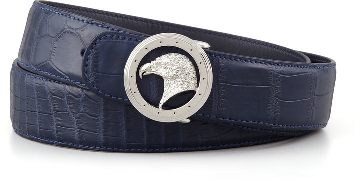Stefano Ricci Eagle Buckle Crocodile Belt, Blue